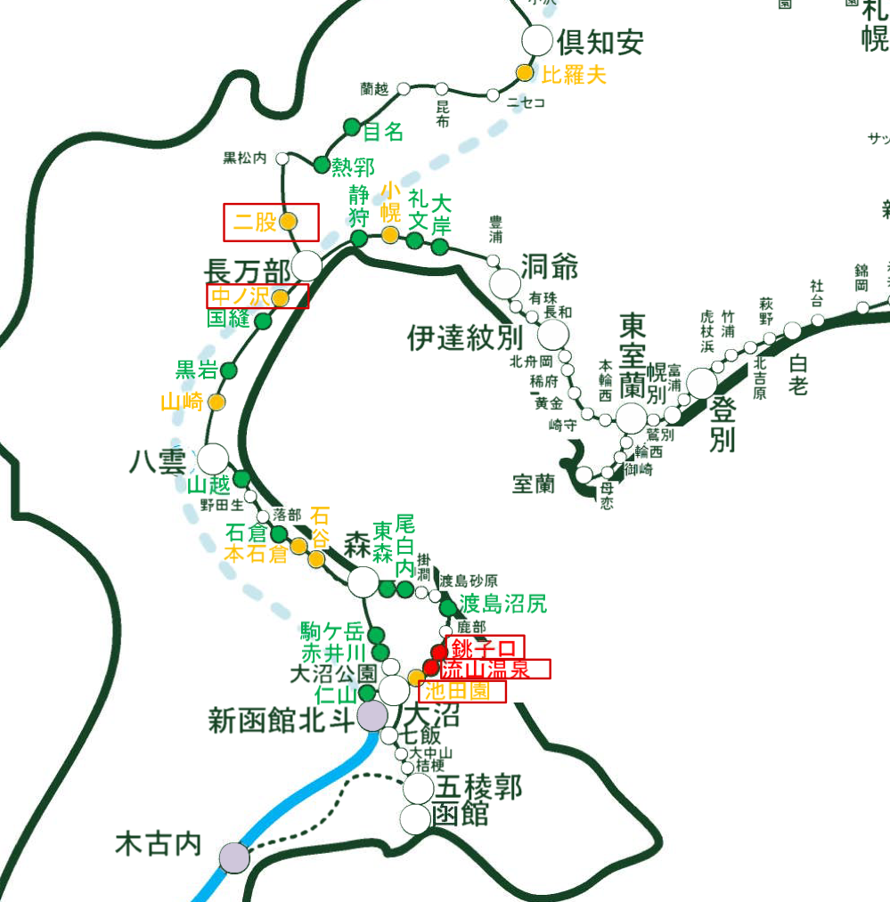 JR北海道「駅別乗車人員」を参考に一部筆者にて編集した函館本線の廃駅予想
