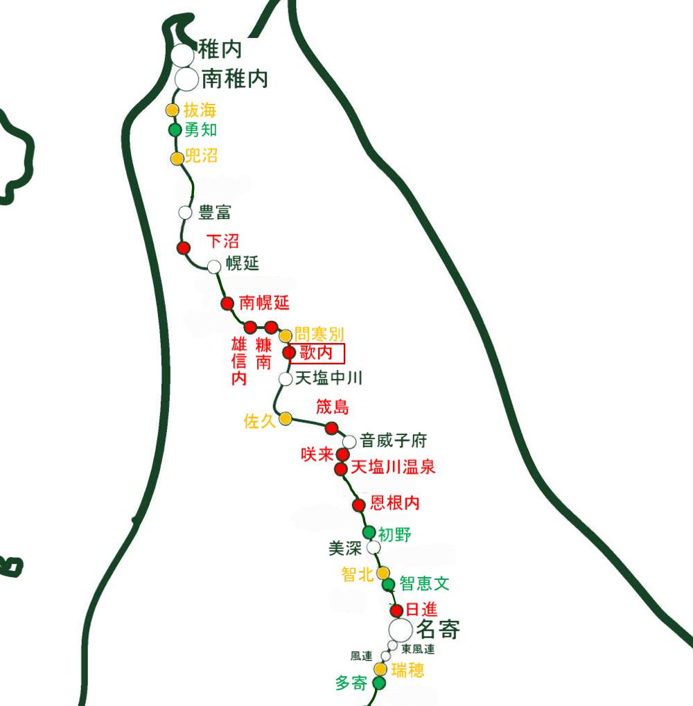 JR北海道「駅別乗車人員」を参考に一部筆者にて編集した宗谷本線の廃駅予想
